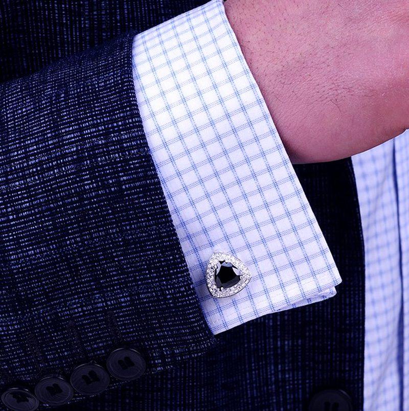 Button Shirt Cuff Shirt Sterling Silver Black Onyx Cufflinks from Gentlemansguru.com
