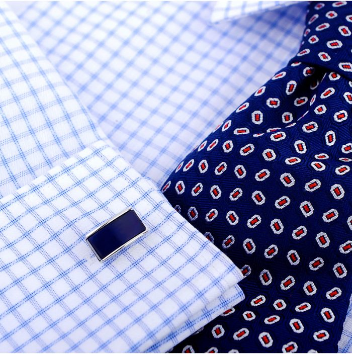 Mens Silver And Navy Blue Cufflinks With Catseye in Dark Navy Blue from Gentlemansguru.com