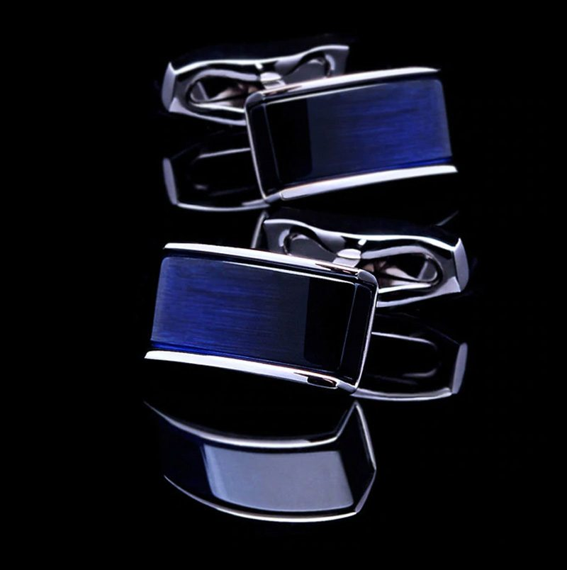 Navy Blue and Silver Cufflinks from Gentlemansguru.com