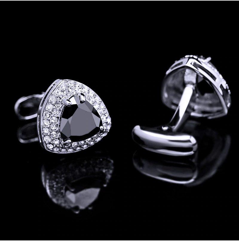 Silver And Black Onyx Cufflinks SEt from Gentlemansguru.com