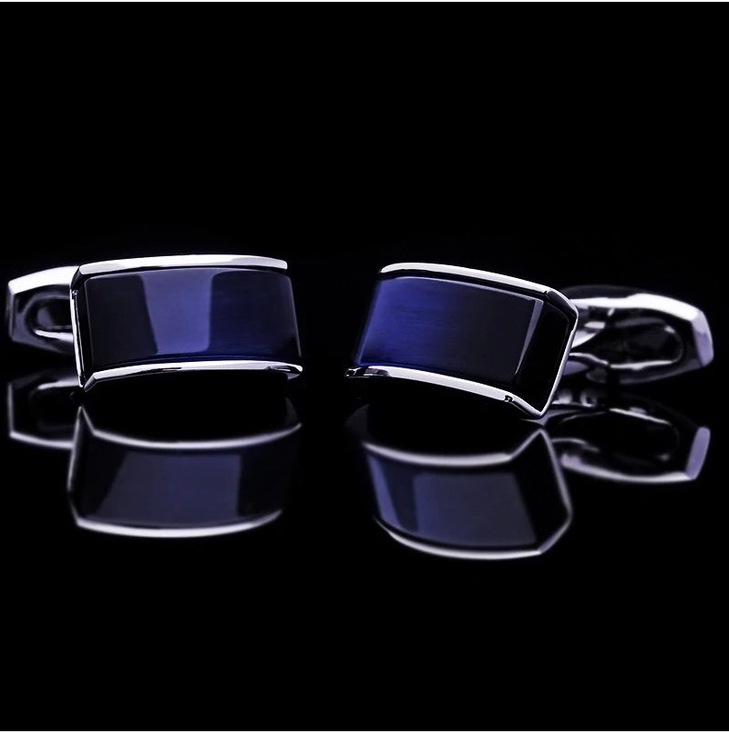 Silver Plated Dark Navy Blue Catseye Cufflinks from Gentlemansguru.com