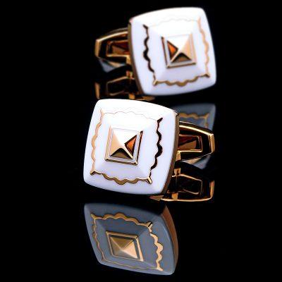 White And Gold Cufflinks Set Enamel Cufflinks from Gentlemansguru.com