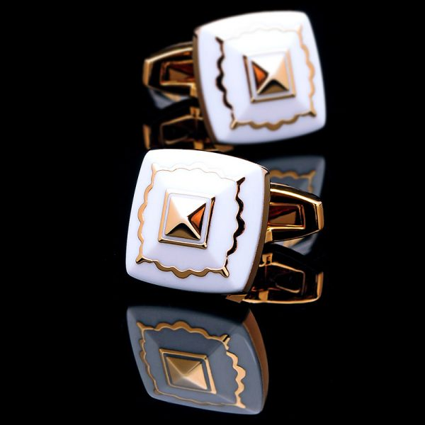 White And Gold Cufflinks Set Enamel Cufflinks from Gentlemansguru.com