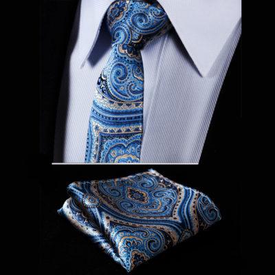 Blue Silk Paisley Tie Set