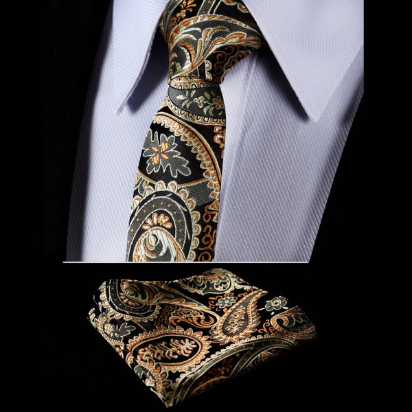Gold and Black Silk Paisley Tie Set