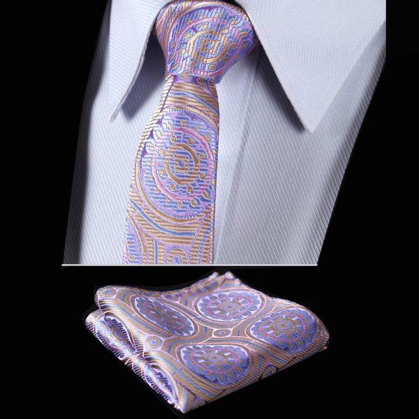 Pale Pink Silk Paisley Tie Set