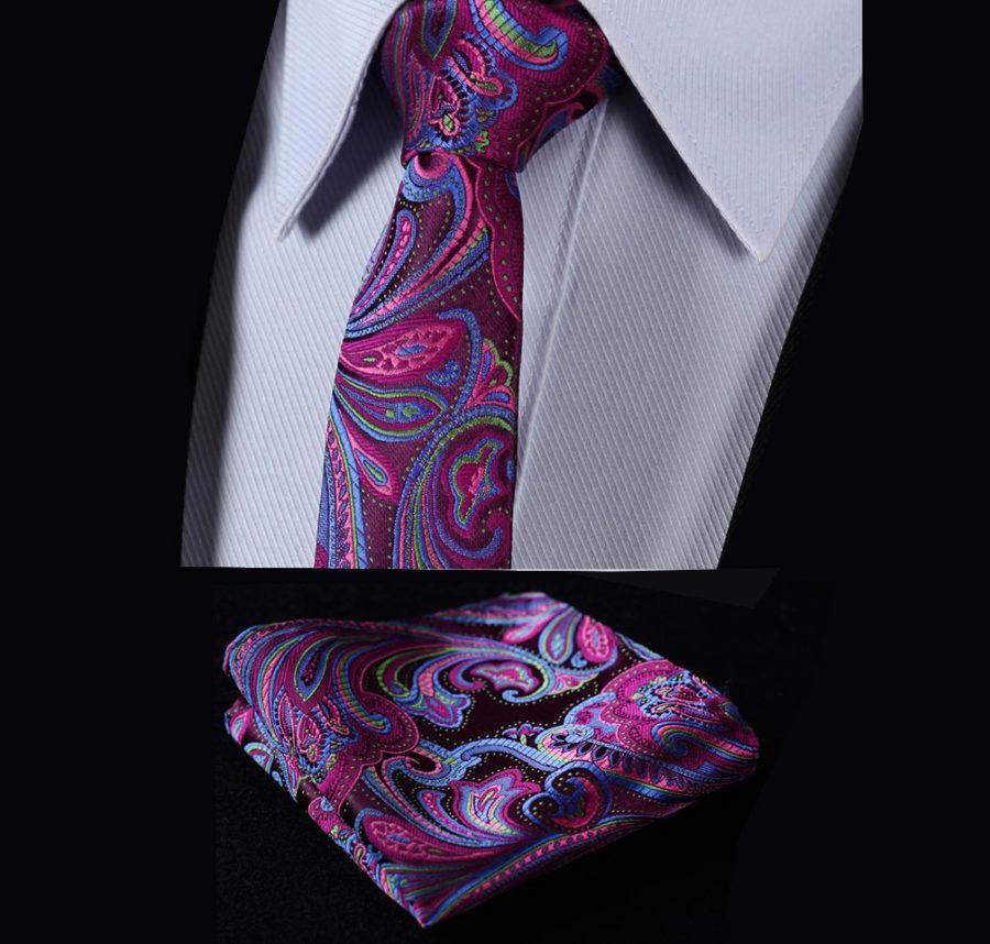 Purple Silk Paisley Tie Set