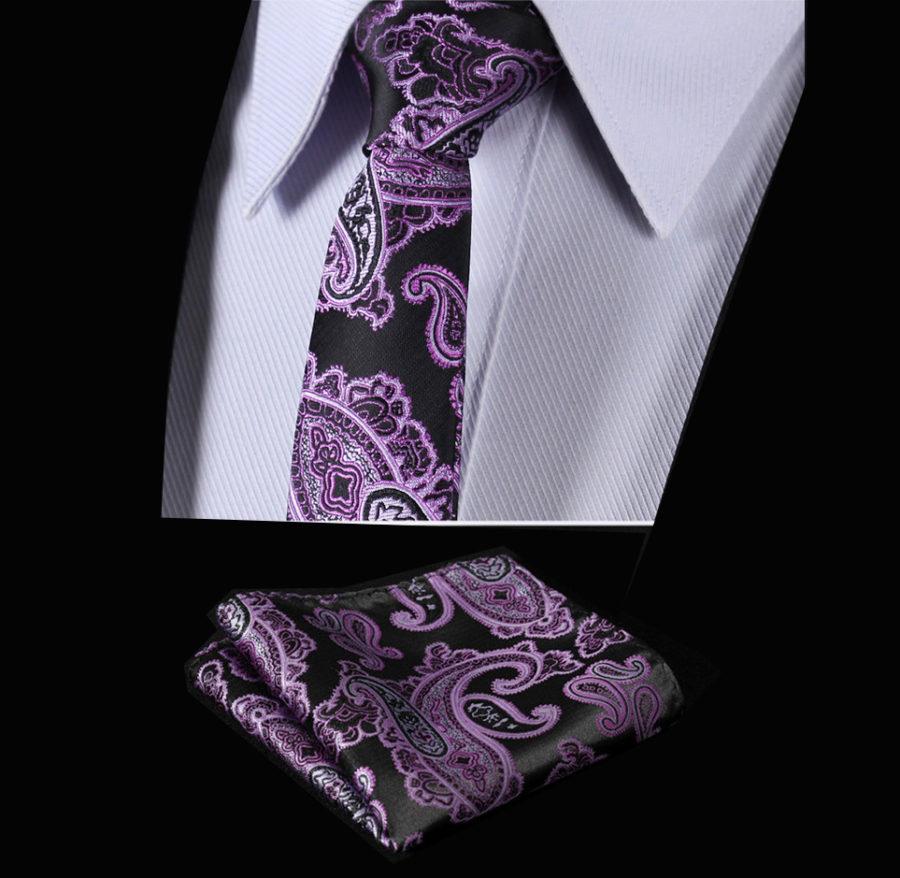 Purple and Black Silk Paisley Tie Set