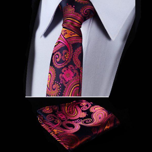 Red Silk Paisley Tie Set