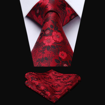 Woven Silk Red Floral Tie Set