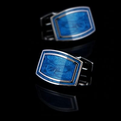 Blue Enameled Cufflinks Set from Gentlemansguru.com