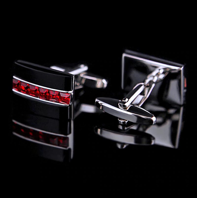 Crystal Black And Red Cufflinks Set from Gentlemansguru.com