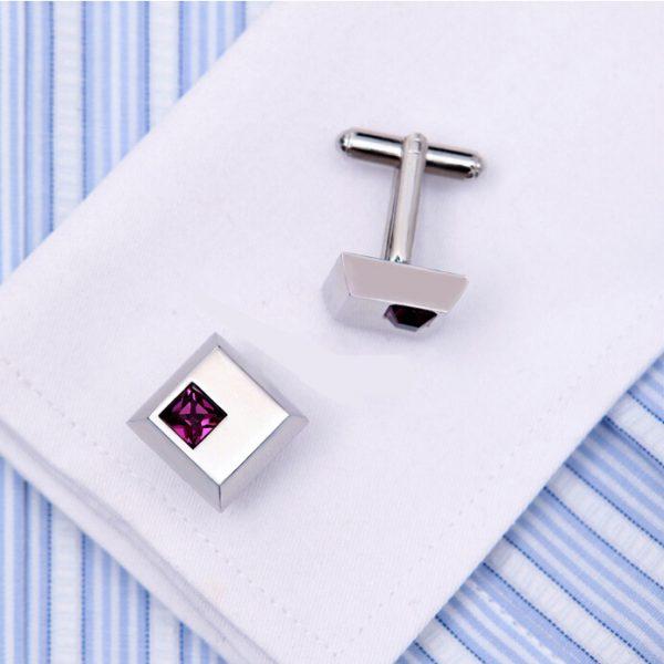 Elegant Silver Gem Stone Cufflinks