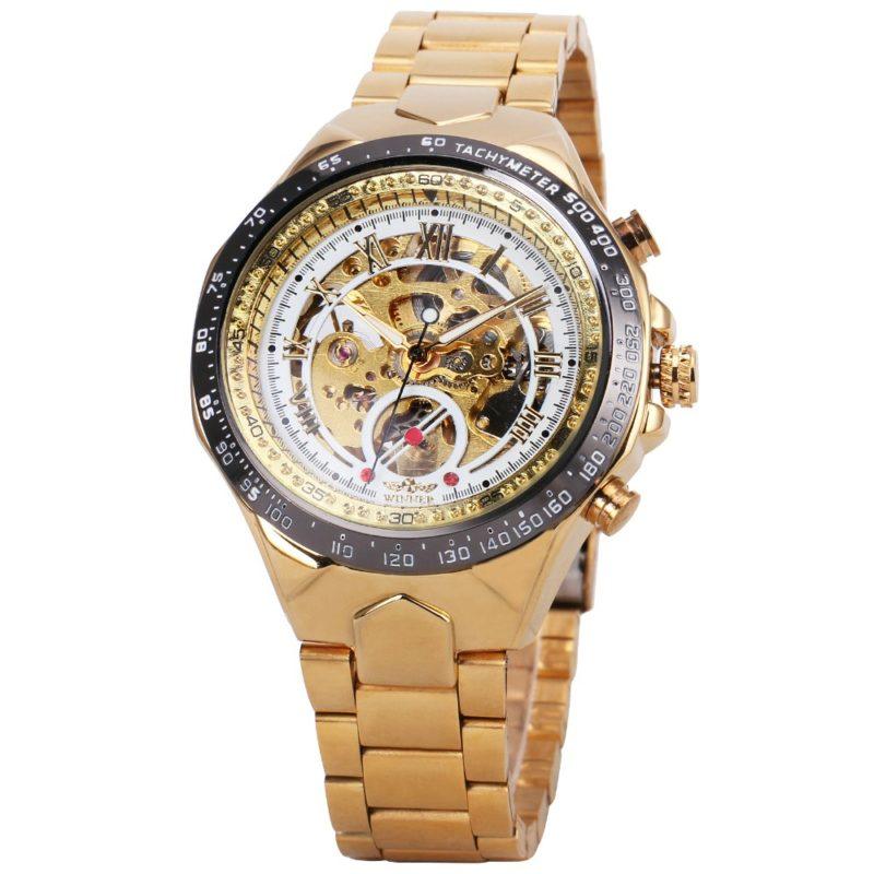 Gold Skeleton Watch white inside