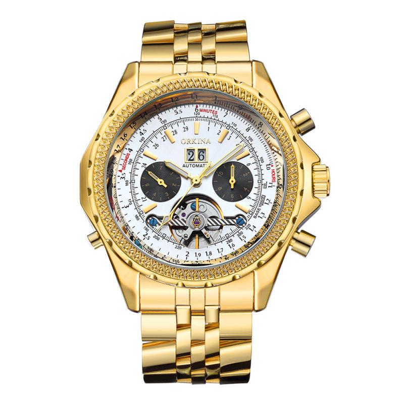 Gold & White Elegant Mechanical Watch