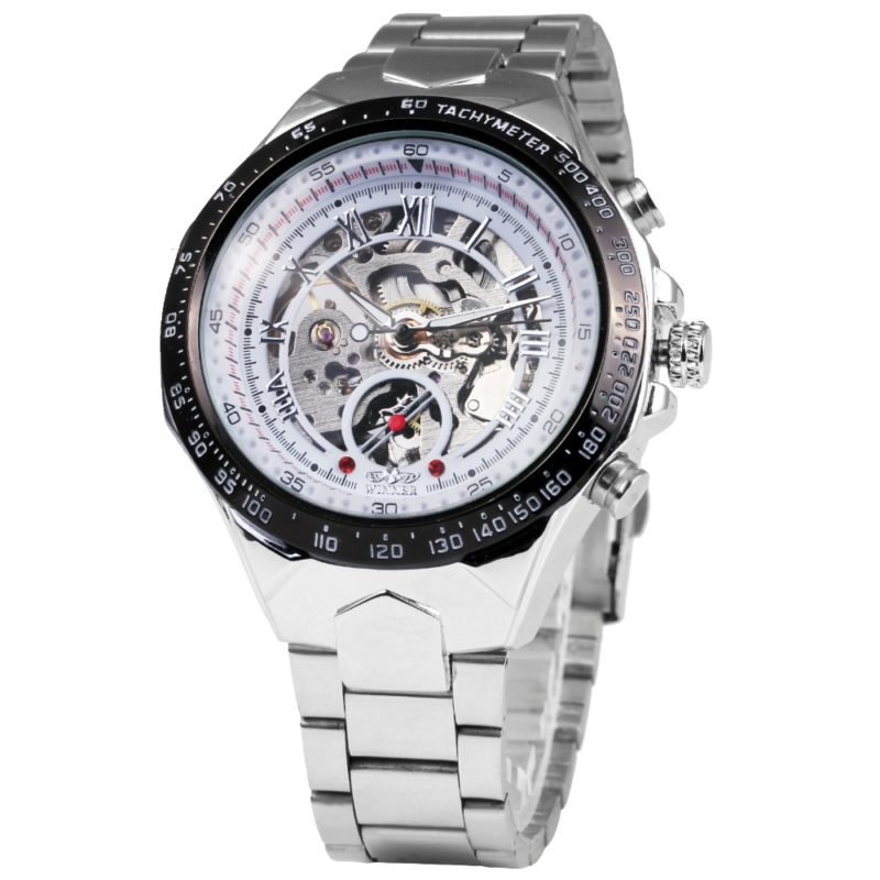 Silver Stainless Steel Skeleton Watch