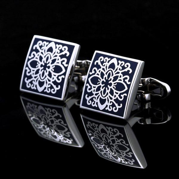 Handmade Navy Blue and Silver Enamel Cufflinks Set from Gentlemansguru.com