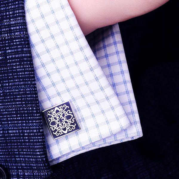 Navy Blue Enamel Silver Cufflinks Set With Mandala Vintage Pattern from Gentlemansguru.com