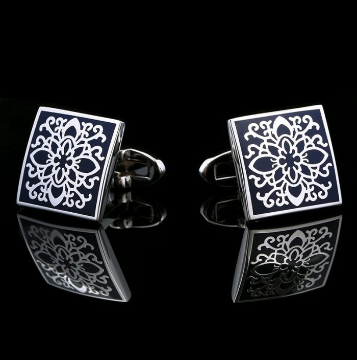 Navy Blue Enamel Vintage Floral Cufflinks For Men from Gentlemansguru.com