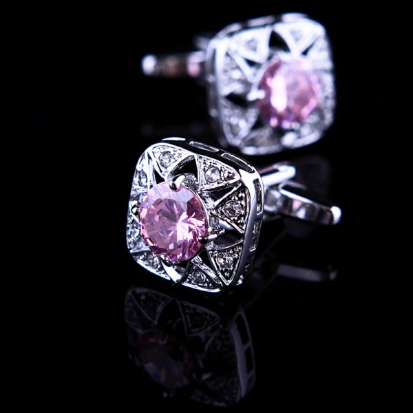 Pink Crystal Cufflinks