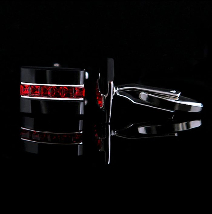 Silver Plated Red Black Cufflinks Set from Gentlemansguru.com