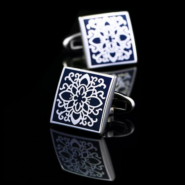 Silver and Navy Blue Enamel Cufflinks Set from Gentlemansguru.com