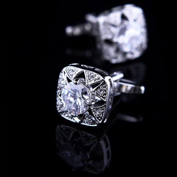 White Crystal Cufflinks