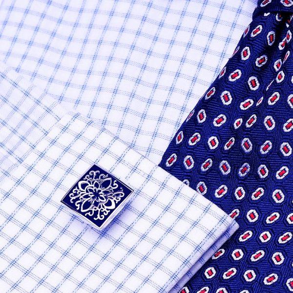 White French Cuff Navy Blue Enamel Cufflinks Set from Gentlemansguru.com