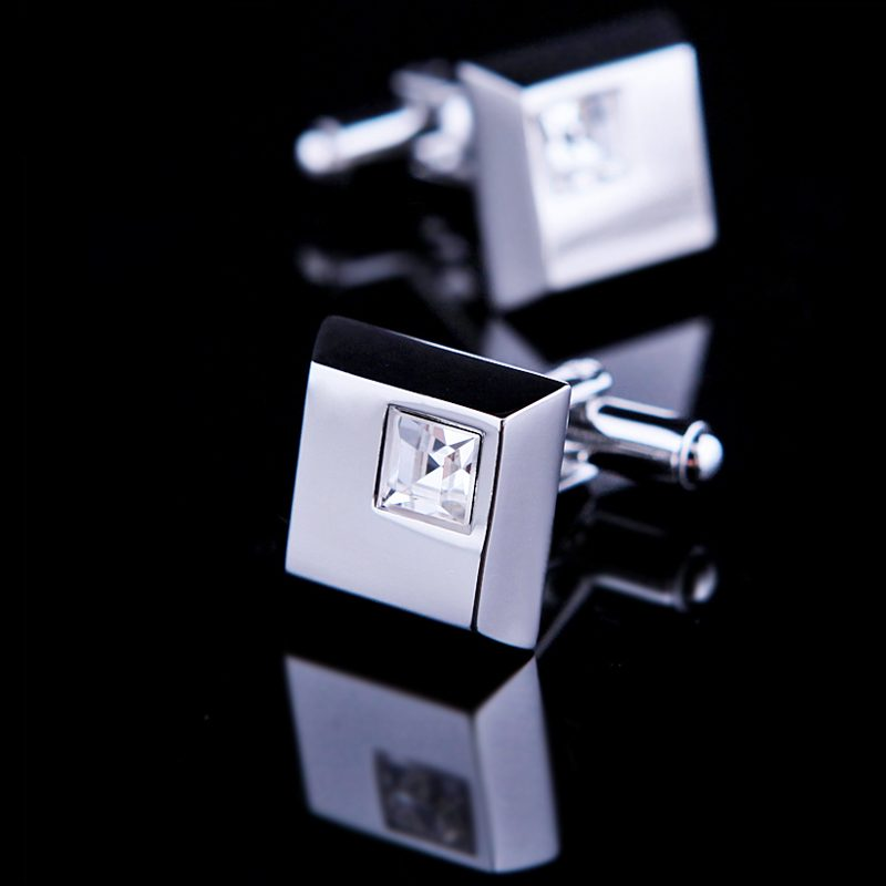 White Silver Gem Stone Cufflinks