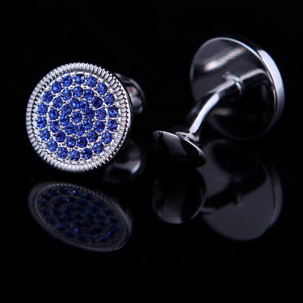 Blue Crystal Silver Round Cufflinks Set from Gentlemansguru.com