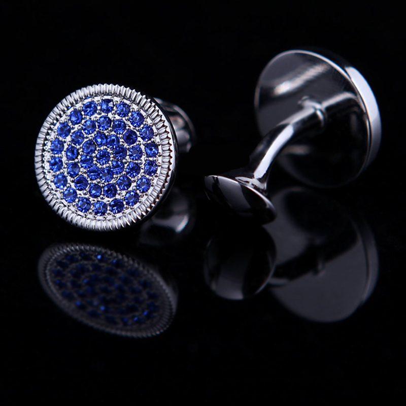 Blue Round Silver Crystal Cufflinks