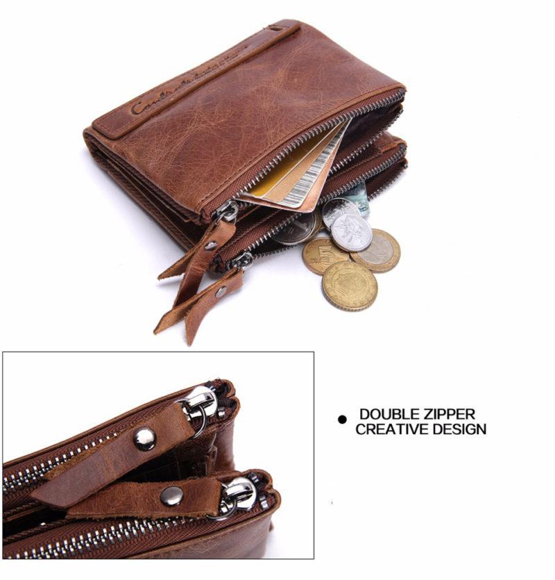 Brown Bi-Fold Zipper Wallet