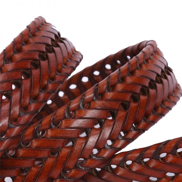 Brown Classic Leather Basket Weave Belts