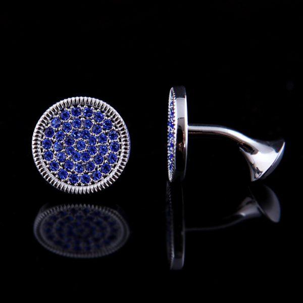 Classic Round Silver Crystal Cufflinks With Blue Crystals from GentlemansGuru.com