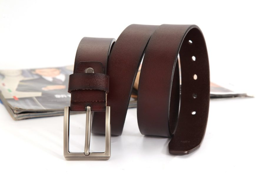 Coffee Leather Basket Weave Belts