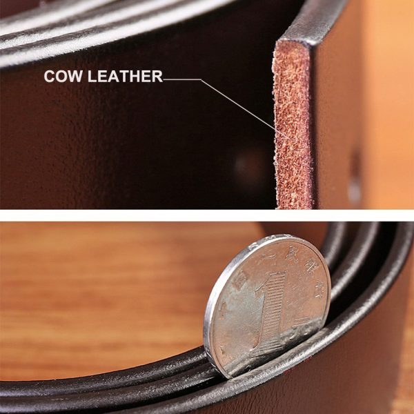 Cow Leather Pin Buckle Belt