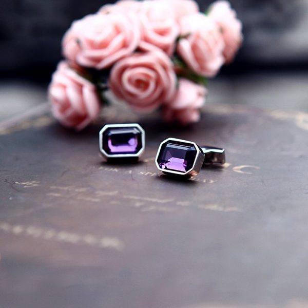 Deluxe Purple Casual Crystal Cufflinks