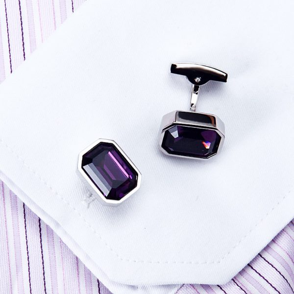 Gentleman's Purple Crystal Cufflinks