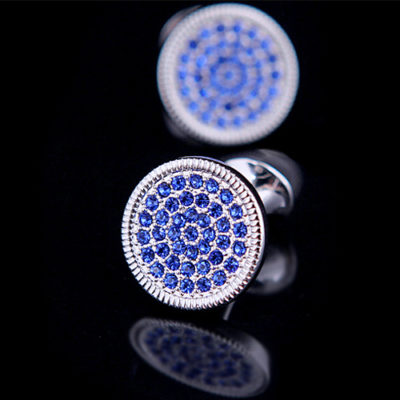 Silver Round Blue Crystal Cufflinks from Gentlemansguru.com