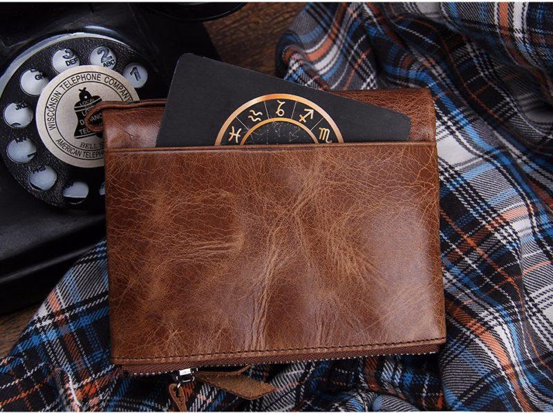 Leather Bi-Fold Zipper Wallet