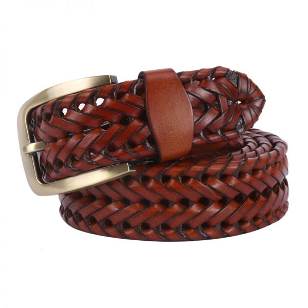 Men's Brown Leather Basket Weave Belts