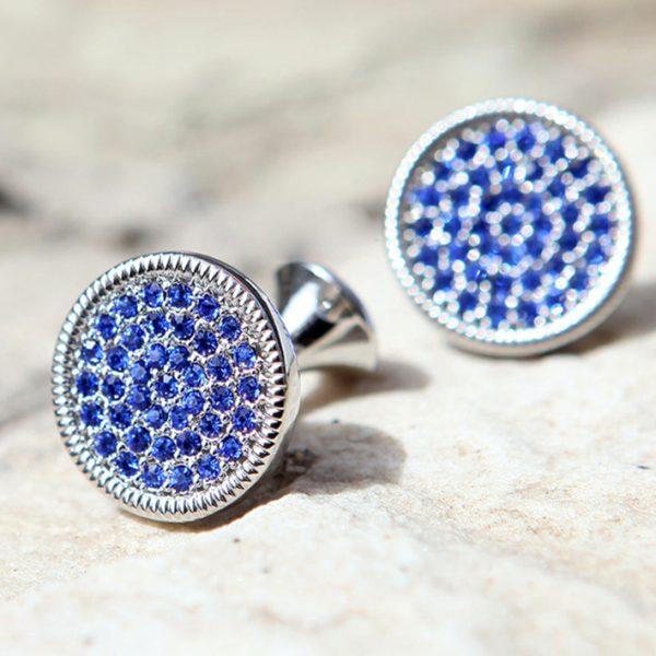 Mens Round Blue Crystal Cufflinks With Silver Plating from Gentlemansguru.com