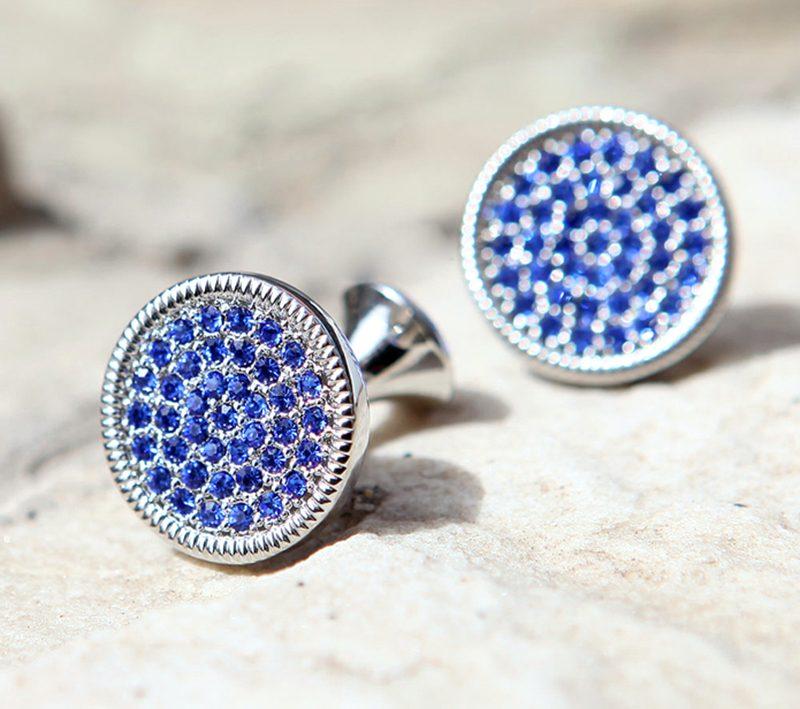 Men's Round Silver Crystal Cufflinks