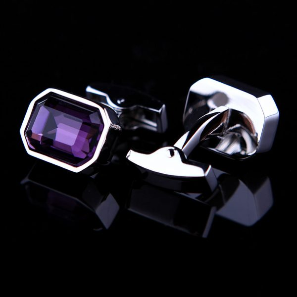 Purple Casual Crystal Cufflinks