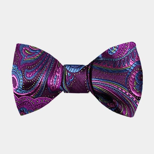 Purple Paisley Bow Tie For Men from Gentlemansguru.com