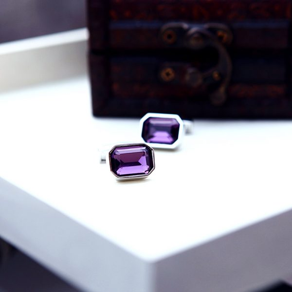 Royal Purple Casual Crystal Cufflinks