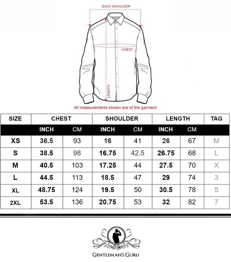 1230- Scroll print Dress Shirt Size Chart from Gentlemansguru.com