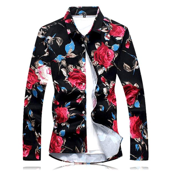 Men's Black Floral Shirts