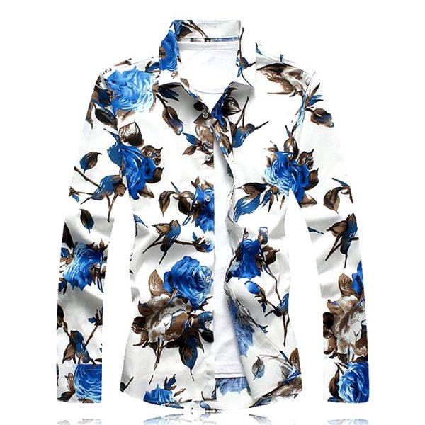 Men's Blue & White Floral Shirts