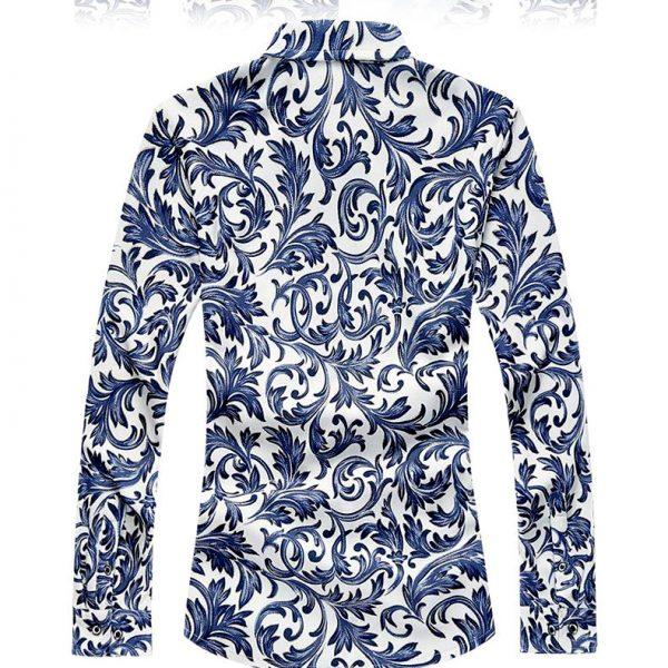Men's Floral Blue Dress Shirt